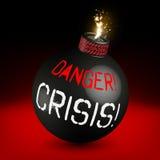 Gefahr! Krisenbombe ausgelöst! Stockbild