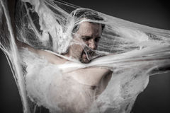 Gefahr. Mann verwirrt im enormen weißen Spinnennetz Stockfotografie