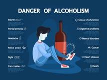 Gefahr von Alkoholismus infographic Getrunkener Alkoholiker angekettet stock abbildung