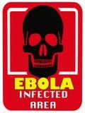 Gefahren-Ebola Virus - tödliche Krankheit - angesteckter Bereich Stockfotos