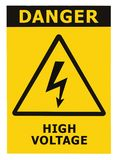 Gefahren-Hochspannungszeichen mit dem Text getrennt Lizenzfreies Stockbild