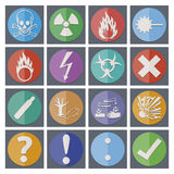 Gefahrenaufkleberikonen, Symbole Lizenzfreies Stockfoto