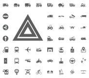 Gefahrenknopfikone Gesetzte Ikonen des Transportes und der Logistik Gesetzte Ikonen des Transportes Stockfoto