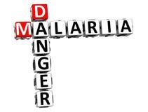 Gefahrenrisiko-Kreuzworträtseltext der Malaria-3D Stockfotografie