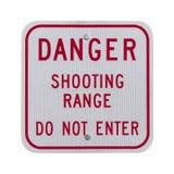 Gefahrenschießstand-Zeichen Stockfoto