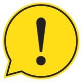 Gefahrenwarnende Aufmerksamkeit unterzeichnet herein eine Spracheblase stock abbildung