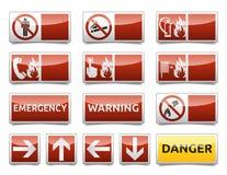 Gefahrenwarnzeichen-Minisatz Stockbild