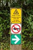 Gefahrenwarnzeichen-, Worcester- und Birmingham-Kanal, England stockbilder