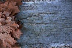Gefallene Blätter im Herbst Raum zu schreiben Hölzerne Tabelle Hintergrund Lizenzfreies Stockfoto