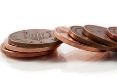 Gefallene Münzen. Stockbild
