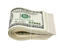 Gefaltet hundert Dollarscheinen lokalisiert auf Weiß stockbild