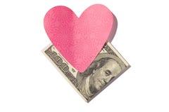 Gefaltet hundert Herz-förmiger Haftnotiz Dollar-Bill Withs Lizenzfreie Stockfotografie