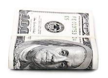 Gefaltet 100 US$-Rechnungen Stockfoto