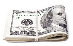 Gefaltet 100 US$-Rechnungen Stockbilder