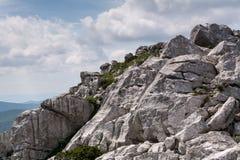 Gefaltete Bergspitze in Risnjak, kroatischer Nationalpark stockbild