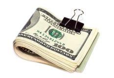 Gefaltete Dollarscheine Stockfoto