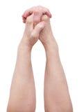 Gefaltete Hände eines alten Mannes Lizenzfreie Stockfotos