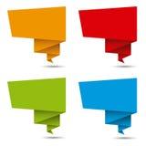 Gefaltete Papierfahnen, differents Farben Stockbild
