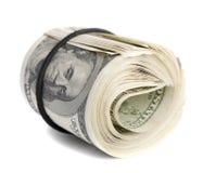 Gefaltetes Bündel des amerikanischen Dollars Stockfotos