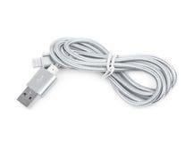 Gefaltetes USB-Blitzkabel lokalisiert Lizenzfreies Stockbild