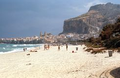 Gefalu, beach. Sicily, Italy Royalty Free Stock Photo