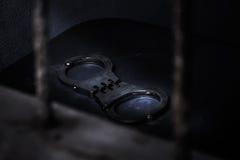 Gefangener auf Stahlgitter Lizenzfreies Stockfoto