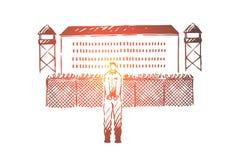 Gefangener in den Handschellen, die au?erhalb des Gef?ngnisses, Gef?ngnisbruchversuch, errichtend mit Metallzaun, Wacht?rme stehe stock abbildung