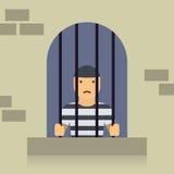 Gefangener in der flachen Grafik des Gefängnisses stockfotos