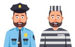 Gefangener in gestreifter Form des Gef?ngnisses auf einem wei?en Hintergrund Gef?ngnisw?rter ein Polizist in einer Kappe stock abbildung
