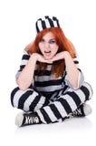 Gefangener in gestreifter Uniform Stockfotografie