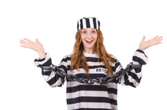 Gefangener in gestreifter Uniform Stockfoto