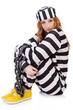 Gefangener in gestreifter Uniform Lizenzfreies Stockfoto
