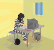 Gefangener im Gefängnis unter Verwendung des Computers lizenzfreie abbildung