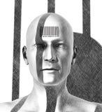 Gefangener mit Strichcode abgestreift von der Menschlichkeit vektor abbildung