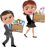 Gefeuerte Geschäftsfrau und Mann-tragender Kasten vektor abbildung