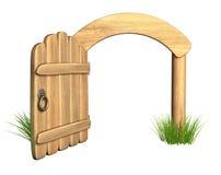 Geöffnete hölzerne Tür Stockfoto
