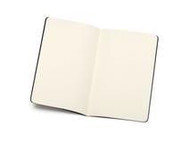 Geöffnete leere moleskine Anmerkungsbücher Stockbild