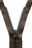 Geöffneter schwarzer Metallreißverschluß Stockfoto