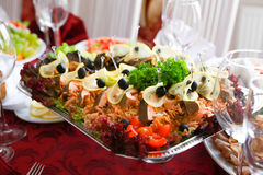 Gefilte fish on a banquet table Stock Photo
