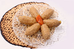 Gefilte fish and Matza traditional Jewish passover food. Gefilte fish is a traditional Jewish food eaten on Passover by Ashkenzi Jews. Follow us on: www.facebook royalty free stock images