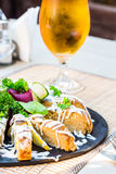 Gefilte fish, pike with vegetables and herbs, beer,restaurant Stock Images