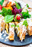 Gefilte fish, pike with vegetables and herbs, restaurant Royalty Free Stock Photos