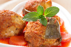Gefilte fish on the plate Stock Image