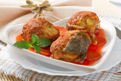Gefilte fish on the plate Stock Photo