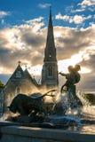 Gefion fountain. Copenhagen, Denmark. Gefion fountain and St. Alban's church in Copenhagen. Denmark Royalty Free Stock Photography