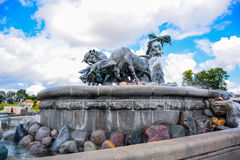 The Gefion Fountain, Copenhagen Denmark. The Gefion Fountain Gefionspringvandet is a large fountain on the harbour front in Copenhagen, Denmark. It features a Stock Photography