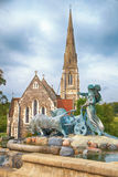 The Gefion Fountain in front of the St. Alban's Church in Copenh Royalty Free Stock Image