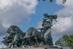 Gefion Fountain i Köpenhamnen Danmark arkivbild
