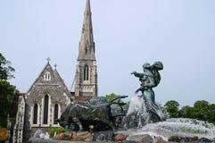 Gefion Fountain Köpenhamn, Danmark Arkivbild