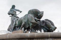 Gefion Fountain, large fountain on the harbor front in Copenhagen, Denmark. royalty free stock photos